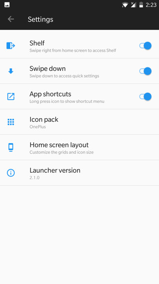 Oxygen OS Open Beta 19 and 10 OnePlus Launcher v2.1 Screenshot OnePlus Launcher v2.1 settings