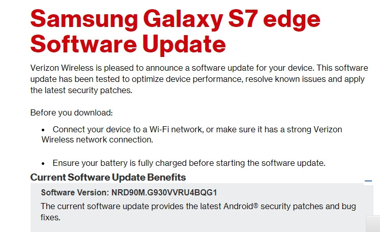 Samsung Galaxy S7 edge Software Update _ Verizon Wireless -T-Mobile, Verizon, AT&T, Sprint S7