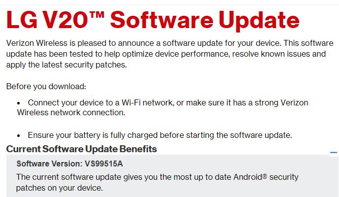 July 2017 security patch for Verizon LG V20