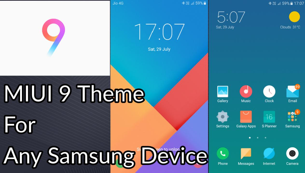 Download and install Miui 9 theme for samsung phones