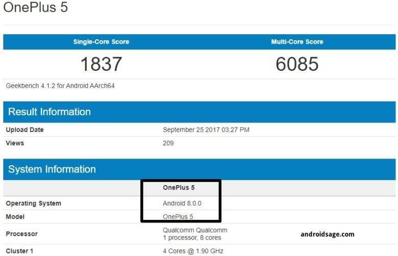 OnePlus 5 OxygenOS 5.0 Android 8.0.0 Oreo geekbench
