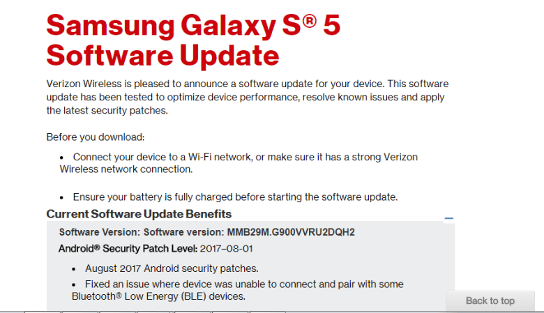 August 2017 Security Update for Verizon Galaxy S5