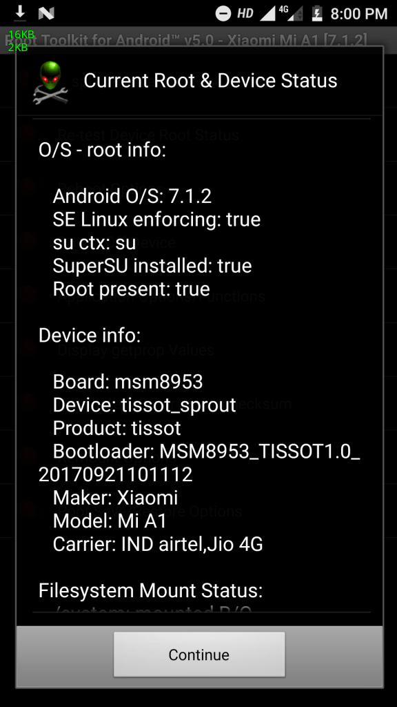 Root Xioami Mi A1 Android One information Screenshot