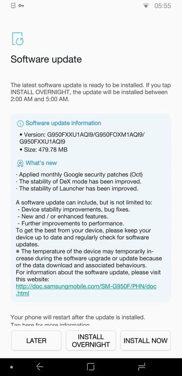Samsung Galaxy S8 (Plus) firmware build G950FXXU1AQI9