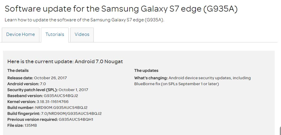October 2017 Security Patch for AT&T Galaxy S7(Edge)
