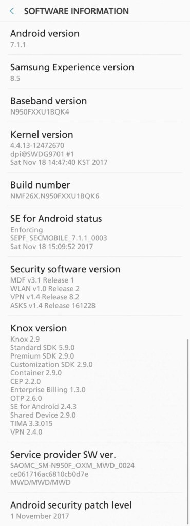 November Security patch for International Galaxy Note 8 with build N950FXXU1BQK6 Rolling Now