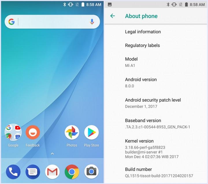 Xiaomi Mi A1 Oreo beta programscreenshot Android 8.0