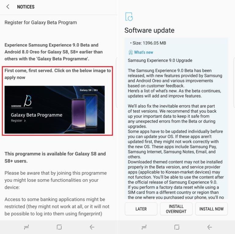 Android OreoBeta for Galaxy S8 (plus)