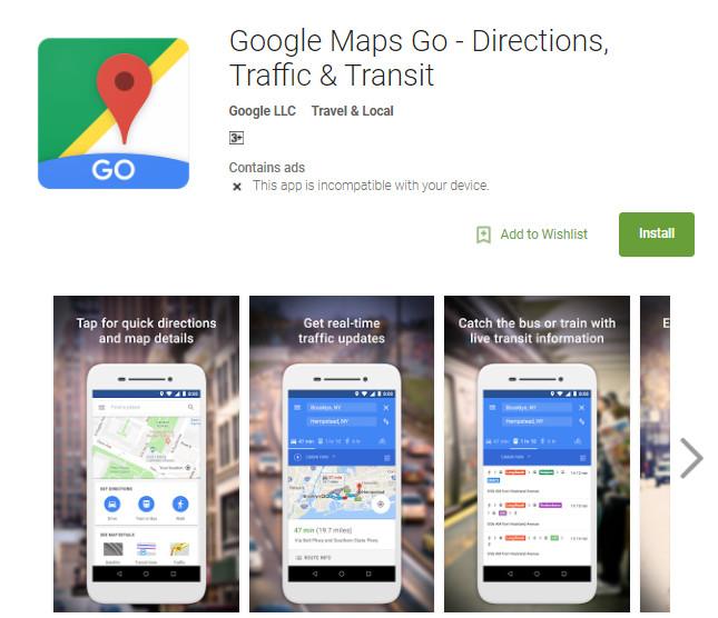 Google Maps Go - Directions, Traffic & Transit APK download