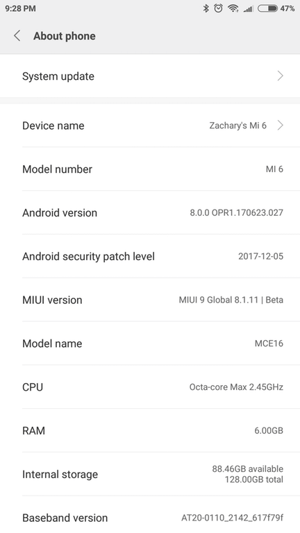 Xiaomi Mi 6 official Android 8.0 Oreo MIUI 9 update