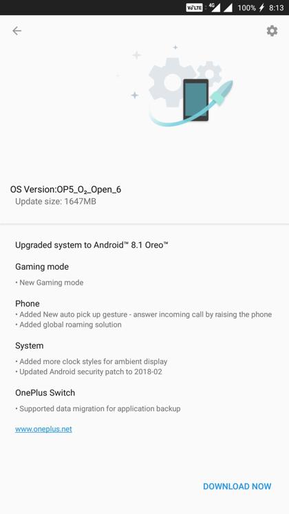 Download OnePlus 5 Android 8.1 Oreo OTA update