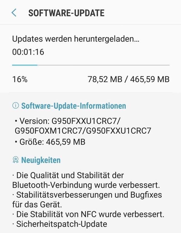 Downloading Galaxy S8 (Plus) March 2018 Security Patch G950FXXU1CRC7 G955FXXU1CRC7