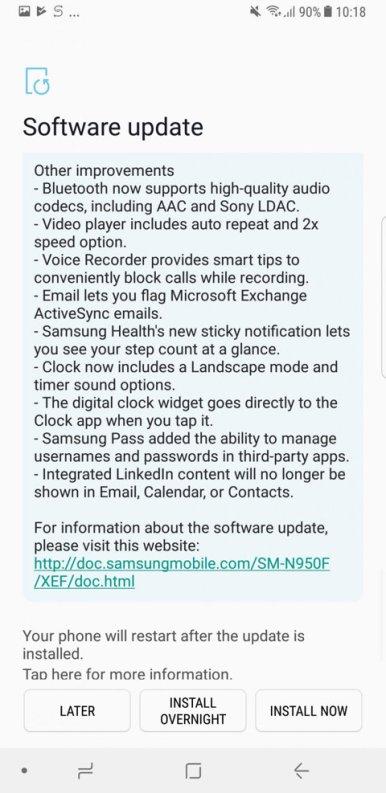 Note 8 Oreo update changelog 5