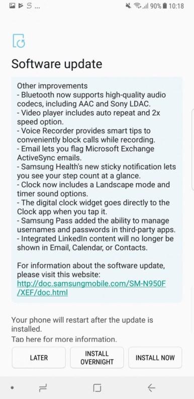 Note 8 Oreo update changelog 5
