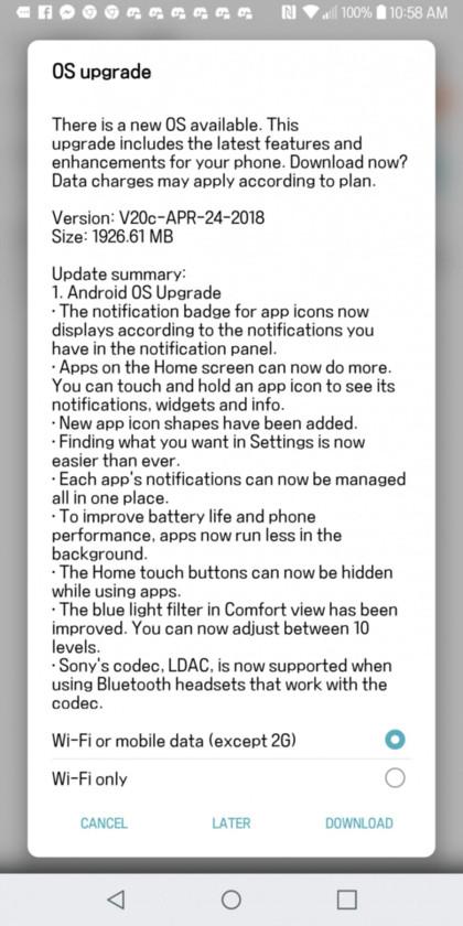 LG G6 Android 8.0 Oroe OTA update Screenshot
