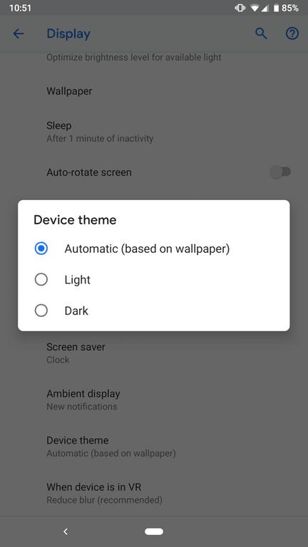 Android P Developer Preview 4 (Beta 3) Dark Theme