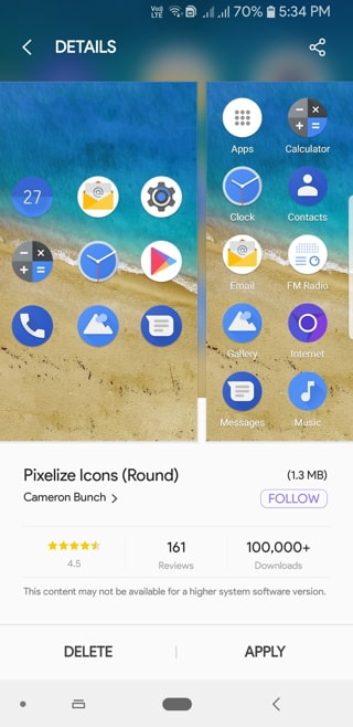 Pixelize Icon Pack Screenshot_20180914-173426_Samsung Themes