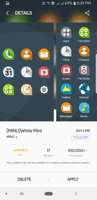 White Mint icon pack Screenshot Samsung Themes