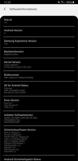 Note 9 Android 9 Pie One UI Beta Screenshot Settings
