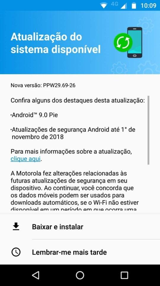 Moto X4 Android 9.0 Pie OTA update downloading