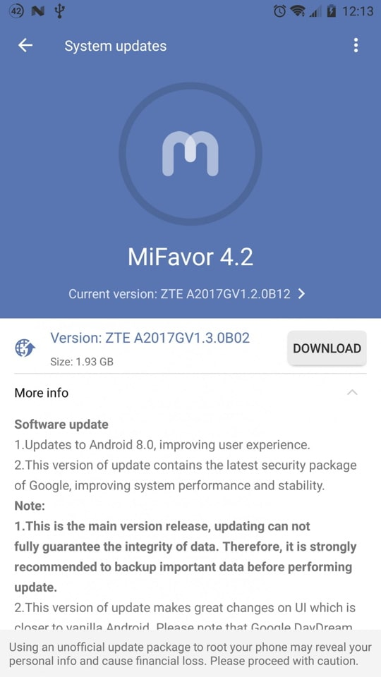 ZTE Axon 7 A2017G gets Android 8.0 Oreo OTA update