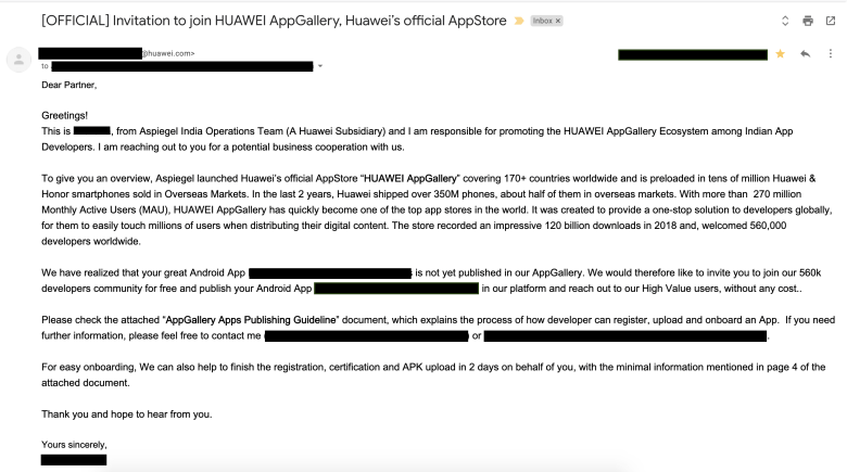 Huawei invitation for AppGallery - Huawei's official AppStore email-min