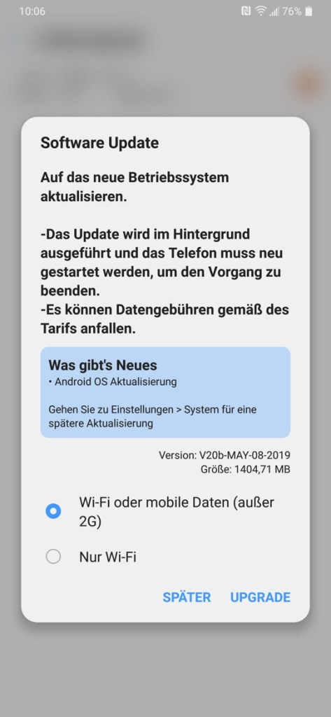 LG G7 android 9 pie update in germany