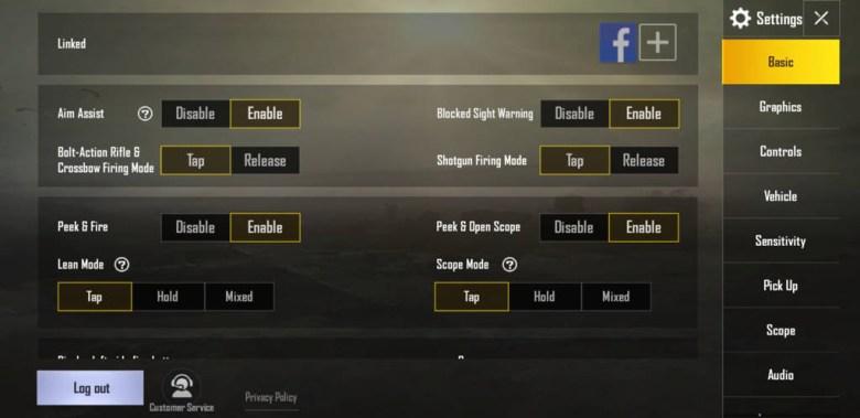 PUBG mobile basic settings