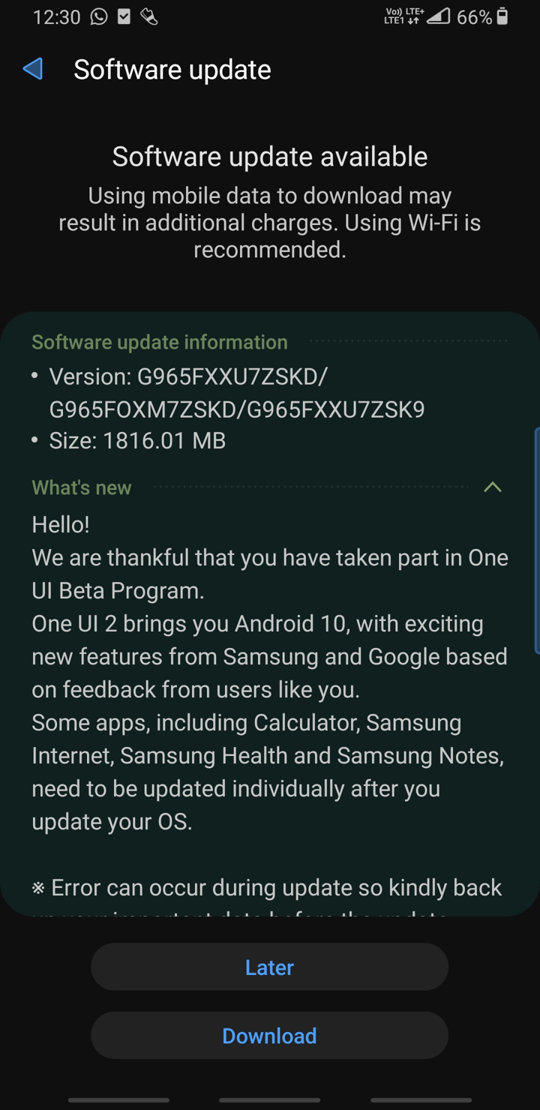 Android 10 for Galaxy S9+ ota update