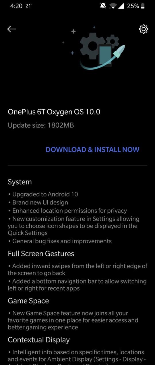 OnePlus 6T Oxygen OS 10 OTA update