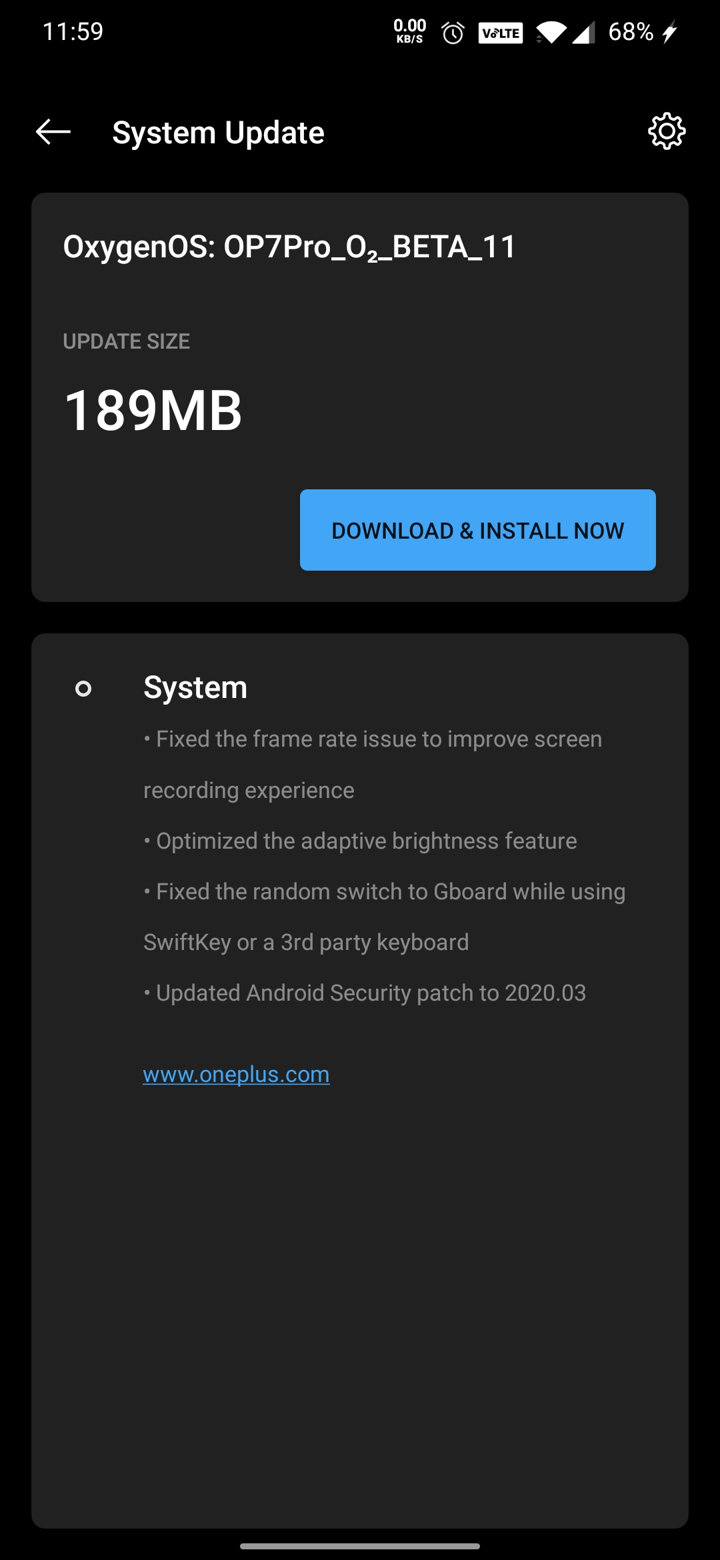Open Beta 11 update for OnePlus 7 and 7 Pro
