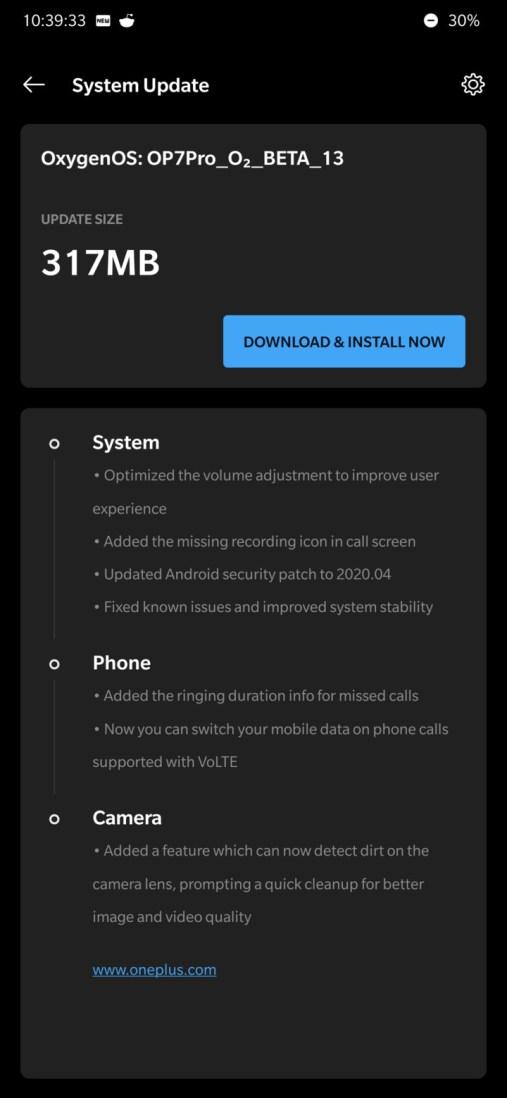Oxygen OS Open Beta 13 for oneplus 7 pro