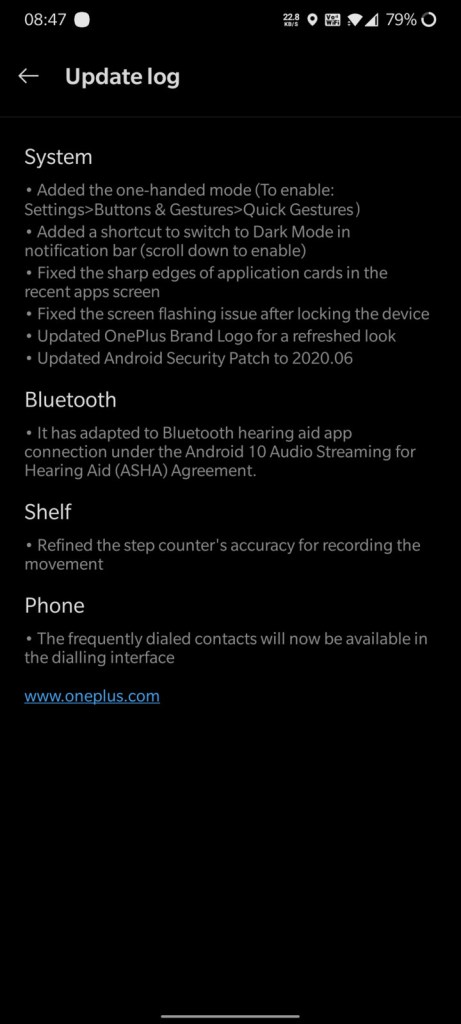 Open Beta 5 for oneplus 7t and 7t Pro update log