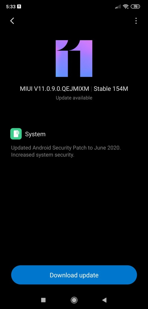 Poco F1 MIUI 11.0.9.0 OTA update download