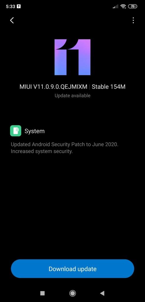 Poco F1 MIUI 11.0.9.0 OTA update download