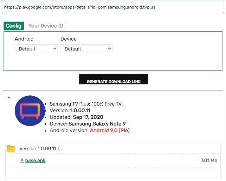 APK Downloader Samsung TV Plus