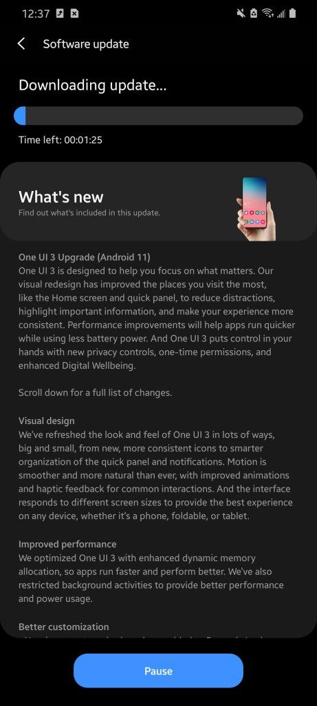 T Mobile Galaxy S20 series stable one ui 3.0 ota update based on Android 11 min