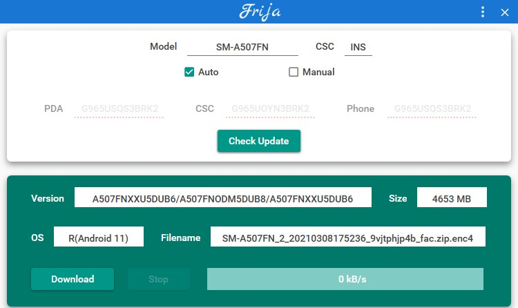 Downloading One ui 3.1 full stock firmware update for Galaxy A71 and A50s Samfirm and Frija