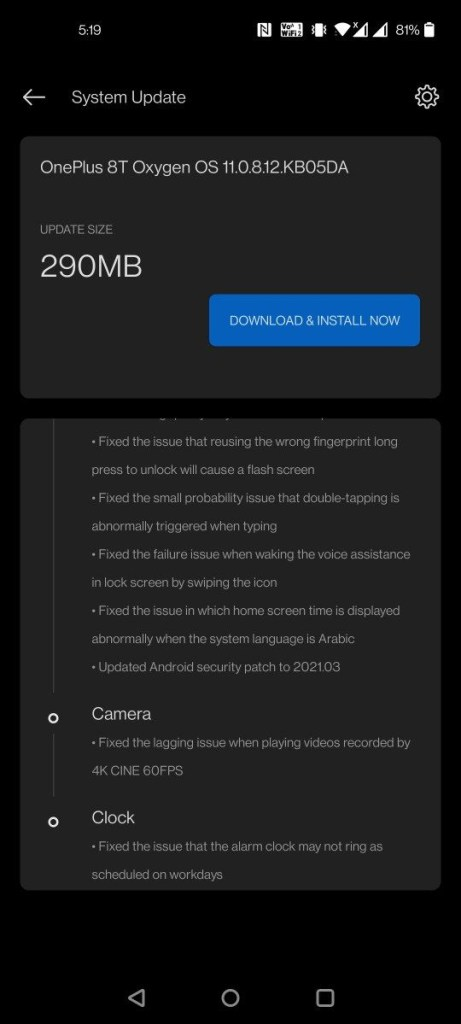 OxygenOS 11.0.8.12 for the OnePlus 8T