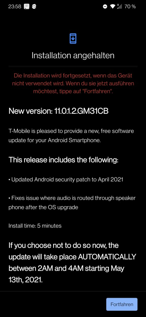T-Mobile OnePlus 7 Pro OxygenOS 11.0.1.2.GM31CB Update