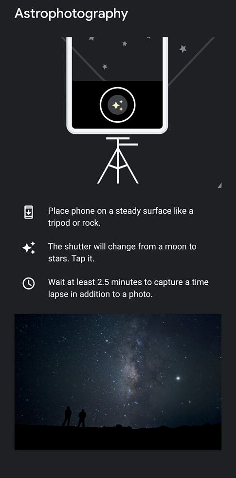 Google Camera update brings astro timelapse screenshot
