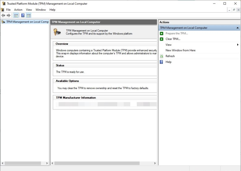 how to check Trusted Platform Module (TPM) Management for PC