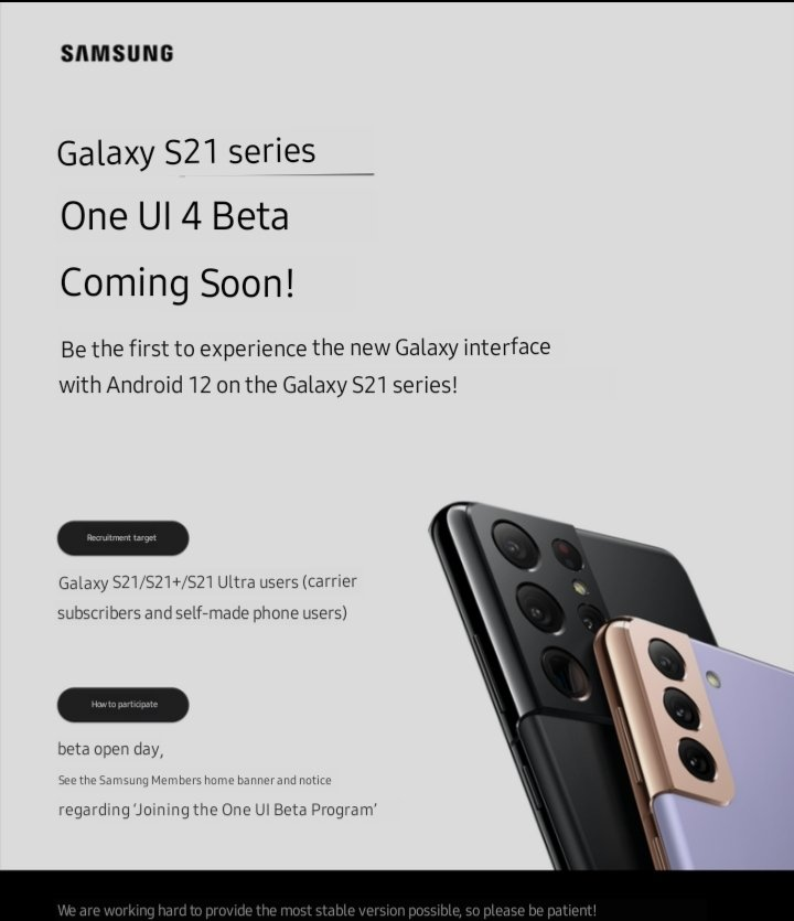 OneUI 4 beta program for galaxy s21 series with Android 12