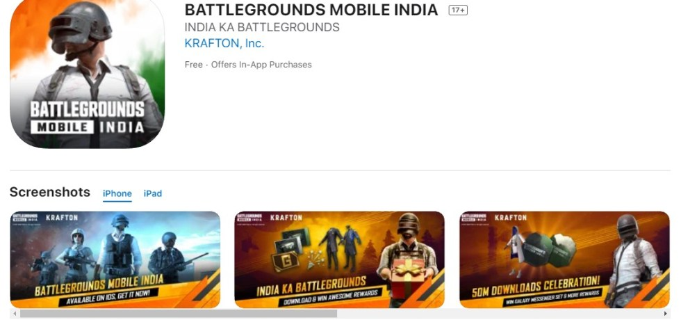 BATTLEGROUNDS MOBILE INDIA on the AppStore iOS Download Link