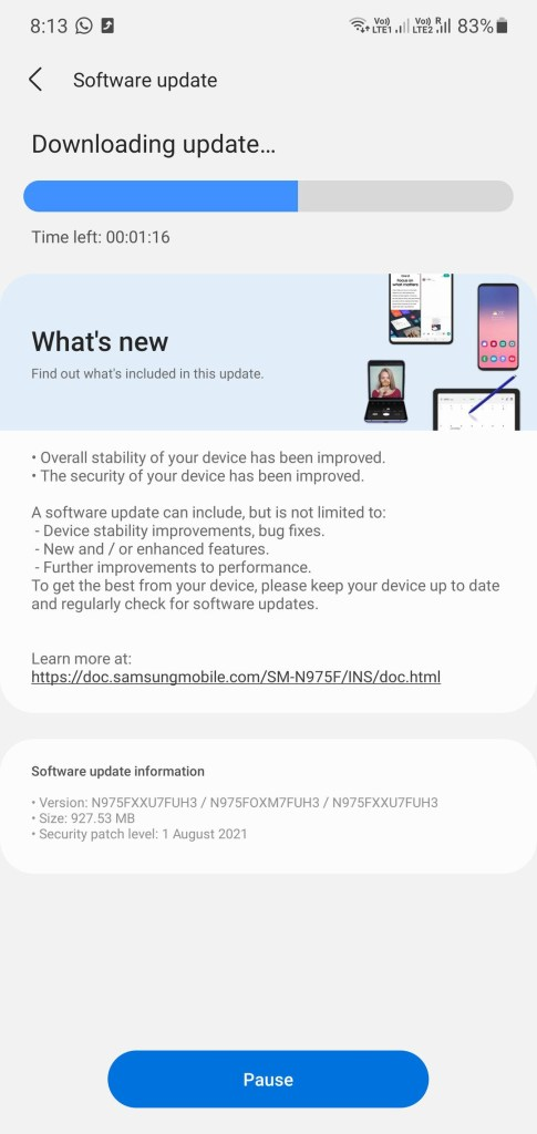 Samsung August 2021 Security Patch Brings OneUI 3.1.1 Features For Galaxy Note 10