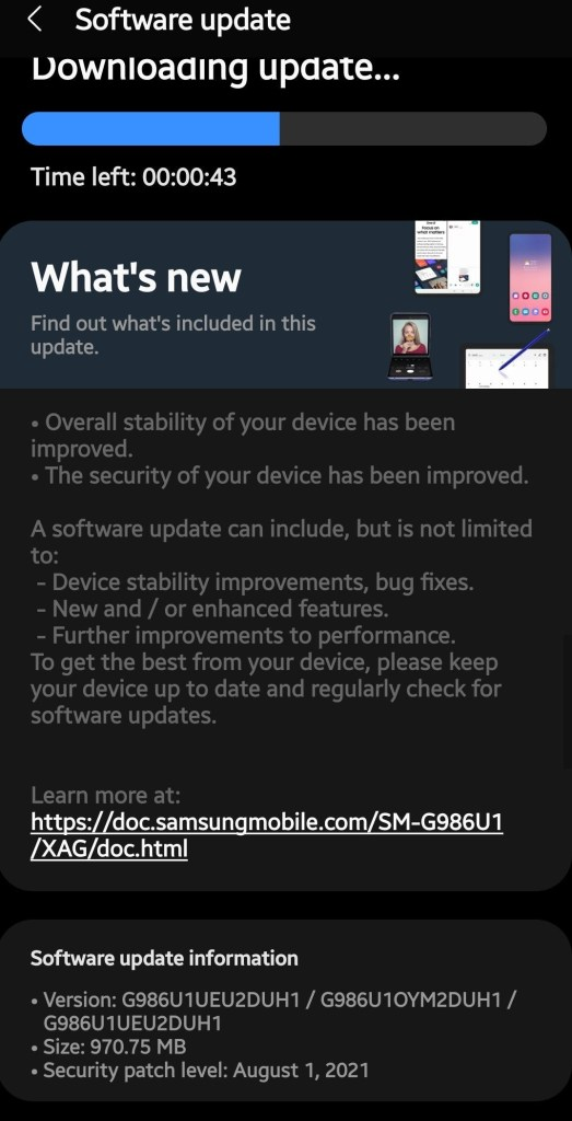 Samsung August 2021 security update for T Mobile Galaxy S20 series with One UI 3.1.1 features