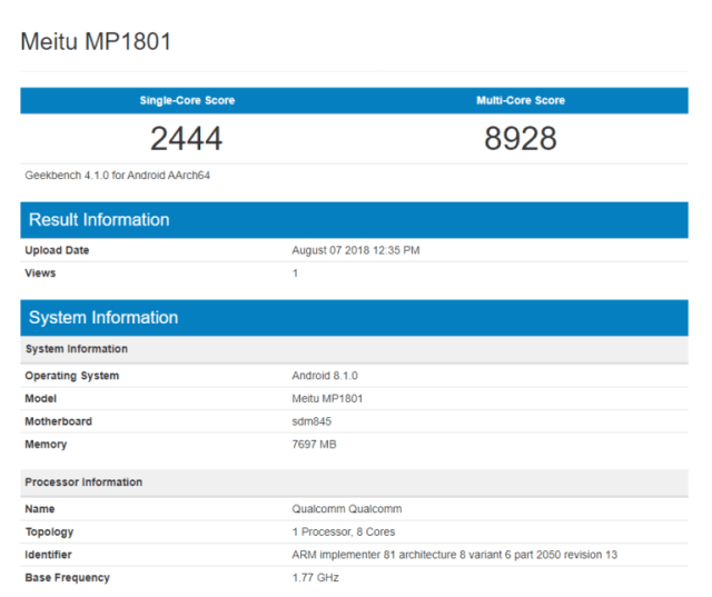 Meitu MP1801 en GeekBench