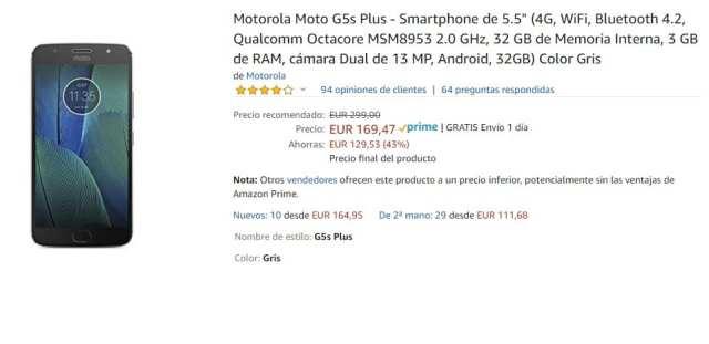 Moto G5s Plus de oferta en Amazon