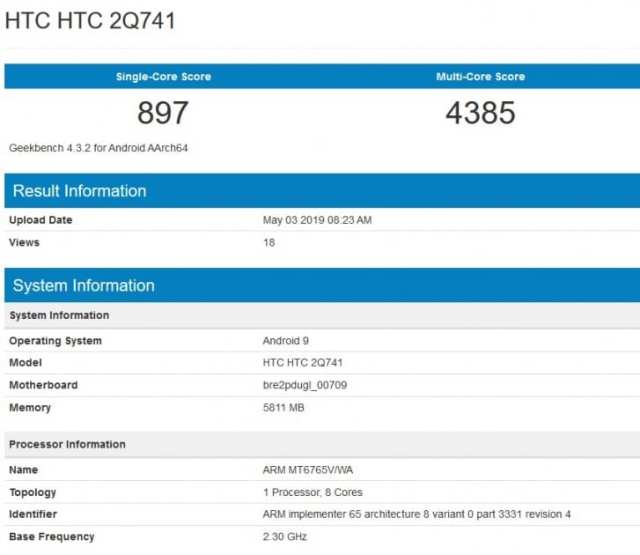 HTC 2Q741 en Geekbench