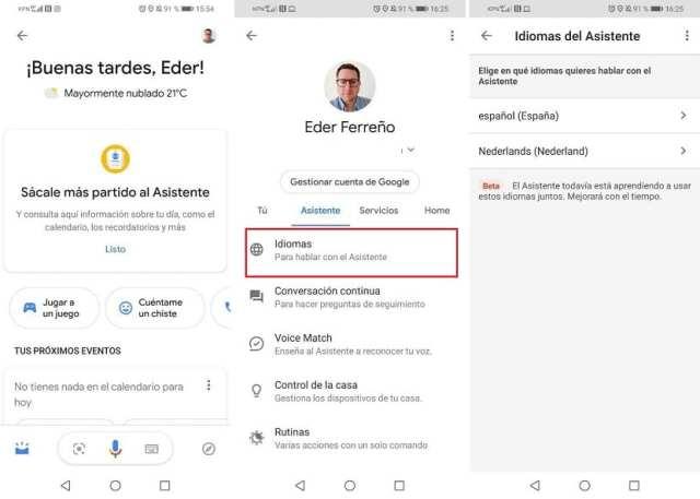 Google Assistant idiomas